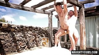 hot Daddy bear fucks boy on rooftop